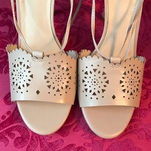 Nine West Lace zip Nude Heels Size 10